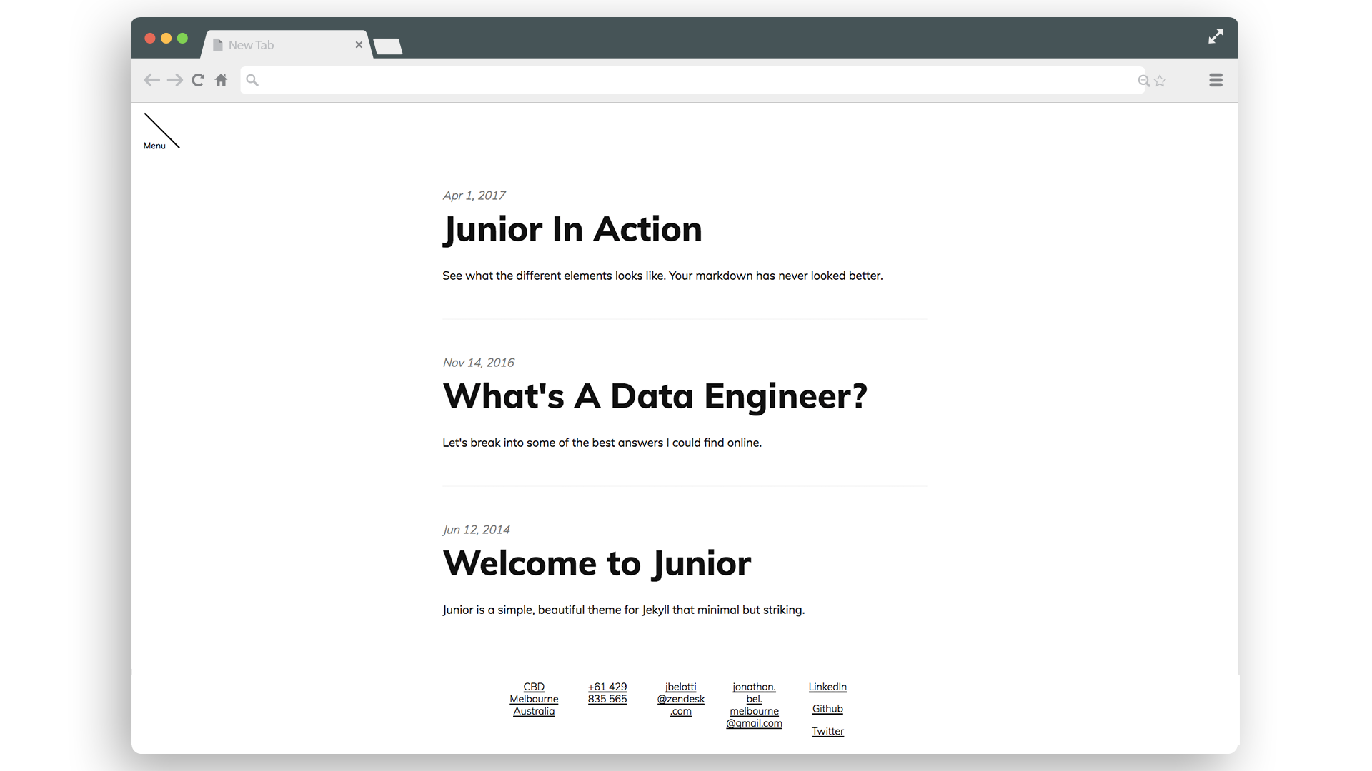front page mockup of junior theme